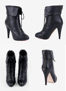 Charlotte Ronson Black Leather Zipper Lace Up Ankle Booties   SZ 8 NIB