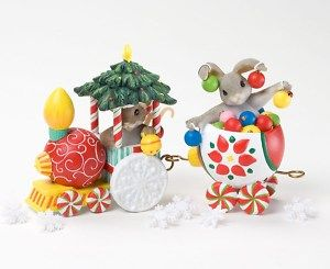 Charming Tails Set 2 Christmas Ornament Express Series
