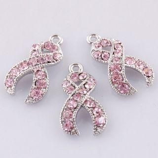 Wholesale Pink Crystal Breast Cancer Awareness Ribbon Findings Charms