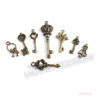 New  Assorted Antique Bronze Key Charms Pendants 140627
