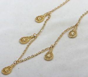 Vintage Yellow Gold Plated Necklace Filigree Charms 29