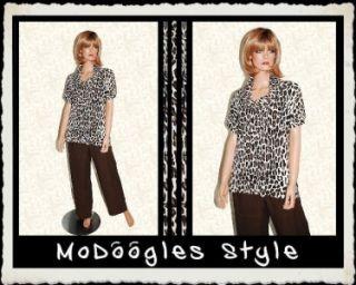 Chaus Brown Tan Cheetah Animal Print Pullover Cowl Neck Silk Knit Top
