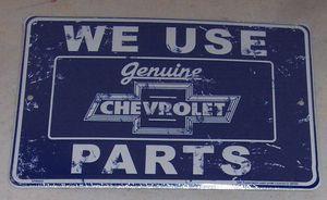 Genuine CHEVROLET PARTS Embossed Tin Sign Camaro Chevelle Impala Chevy