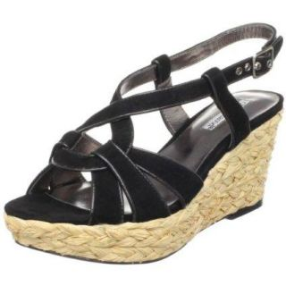 Charles David Womens Black Suede Leather Rope Wedge Karat Heels Shoes