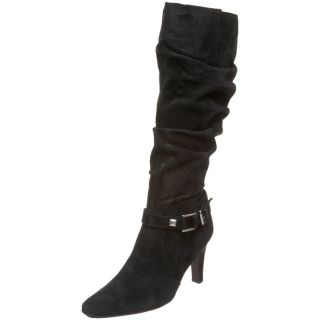 NEW WHITE MOUNTAIN TALL US 8.5 BLACK TALL SUEDE HEELS BOOTS Cheeky