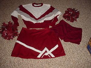 XL CHEERLEADING UNIFORM MAROON WHITE GRAY SWEATER SKIRT POMS BRIEFS B
