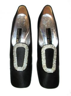 PILGRIM SHOES Rhinestone BUCKLES Black Satin CHARLES JOURDAN Mod 7 6.5