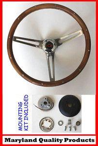 67 1968 CHEVY 2 II NOVA Grant Steering Wood walnut 15 Wheel RED/BK