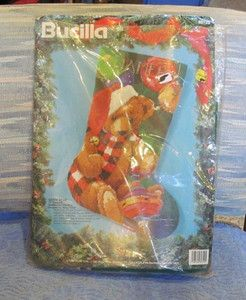 Bucilla Santa Bear 18 Christmas Stocking Kit Complete