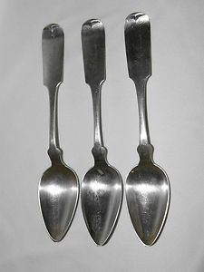 antique coin silver large spoons servers Frederick A Chafee late 1800s