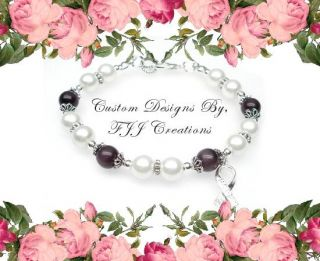 Purple Ribbon Awareness Jewelry Bracelet Support Gift White Glass
