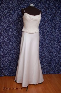 Mon Cheri Ivory Satin Beaded Chiffon Wedding Dress 14