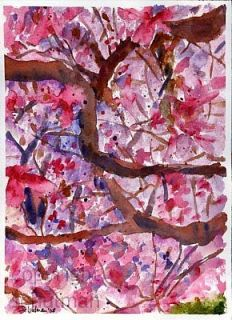 Abstract Watercolor Painting Flower Tree Branch Art