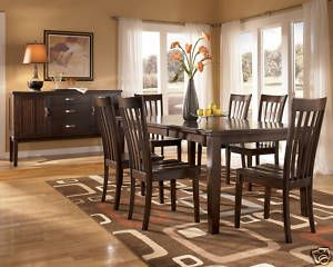 Contemporary Dark Cherry Dining Room Table Chairs Set Furniture