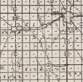 Chickasaw County Iowa Authentic Vintage Map New Hampton IA 74 Years