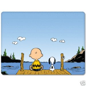Snoopy and Charlie Brown Fishing Bumper Sticker 5x 4