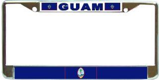 Guam Chamorro Flag Chrome Metal License Plate Frame Holder