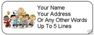 30 Peanuts Charlie Brown Personalized Address Labels