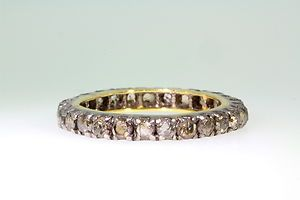 Estate 1ct Rose Cut Champagne Diamond 14k Gold Eternity Band Ring