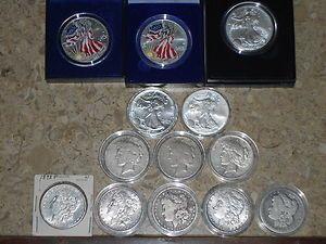 Silver Dollar Lot Morgan Peace Eagle 13 Silver Dollars TOTAL