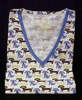 Scrub Top St Judes Judes Dog Bones Print V Neck XS New