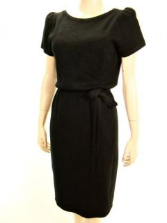 Vtg 80s St John Open Back Straps Black Short Sleeve Knit Dress s M
