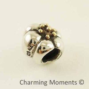 Pandora Two Tone Silver Gold Charm Flower 14k Tip 790184 Bead