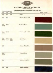 1942 47 Chevy Paint Color Sample Chips Card Colors