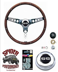 CHEVY CAMARO SS STEERING WHEEL 13 1 2 WALNUT WOOD GRANT STEERING WHEEL
