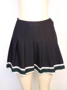 Cheerleader varsity skirt pleated striped green silver S 8 75
