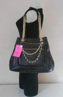 Betsey Johnson Handbag Black Leather Classy Quilted Tote Chain Zips