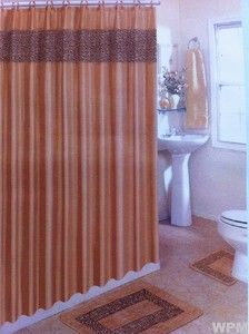Set Animal Print Brown Leopard Fabric Shower Curtain Mat Rings
