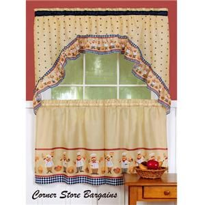 PC Bistro Fat Chef Kitchen Curtains Tier and Swag Set New