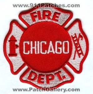 Chicago Fire Department Dept FD Rescue EMS Red Maltese Patch Illinois