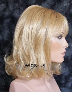 WIGS Golden Blond 60s Style Back combed Flipped Ends Look Wig