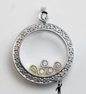 White Gold Floating Happy Diamond Circle Pendant Necklace 3 tone