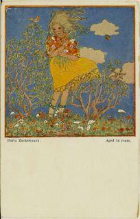 1915 Little Girl in Wind Trees Flowers Artist Signed Zuckermann Arts