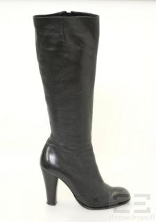 chie mihara black leather knee high boots size 40