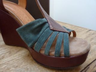 Chie Mihara BNIB Dunia Green Suede Brown Wedge Shoes UK 7 40 US 9