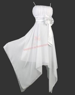 Chiffon Ruffle Bust Bow Asym Hem Party Dresses s M L 16 18