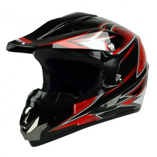 Black Red Dirt Bike Buggy ATV Off Road BMX MX DOT Helmet ~ Youth XL