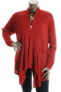 Jones New York New Red Open Front Long Sleeve Cardigan Sweater Plus 2X
