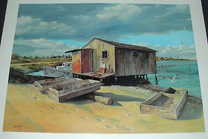 New 1977 Signed Bob Browne Chesapeake Bay 24x31 Print Beach Shack Cat