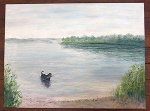 Original Oil Painting PJ Teller CHESAPEAKE BAY RETRIEVER Dog 16 5x22