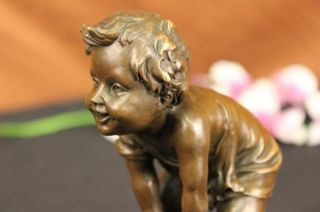 Art Deco Child Toddler Playing in Chair Bronze Figurine Figure Statue