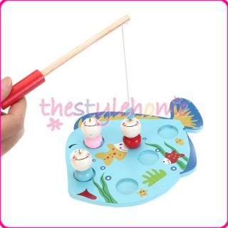 Education Wooden Goldfish Magnet Fishing Board Puzzle Kids Funny Games