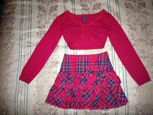 Childrens Place Girls Plaid Skirt Sweater Outfit Christmas Holiday