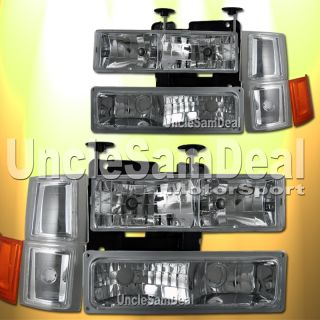 Chevy C K Tahoe Look Euro Clear Chrome Headlights Corner Signal 10