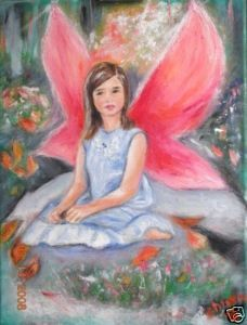 Christine Art Original Oil Painting Angel Wings Signed