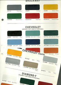 1966 Chevrolet Truck Color Chip Paint Sample Brochure Chart Dupont